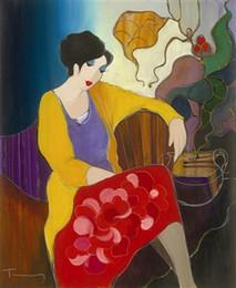 Itzchak Tarkay Nouvelles figuración Inicio Obra de Senhora Retrato pinturas hechas a mano óleo sobre lienzo cóncavas y convexas textura IT106 en venta