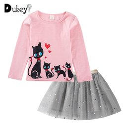 party clothes for little girls UK - New Long Sleeve Girl Clothes Cartoon Cat Print Kids Costume Casual Boutique Clothing for Little Girl Holiday Party