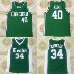 top jersey shirt basketball 2019 - Shawn Kemp #40 Concord #34 Leeds Charles Barkley High School Basketball Jersey Stitched Embroidery Men Basketball Shirts