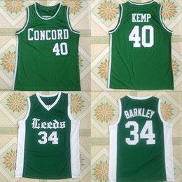 School Basketball Jerseys Australia - Shawn Kemp #40 Concord #34 Leeds Charles Barkley High School Basketball Jersey Stitched Embroidery Men Basketball Shirts Free Shipping