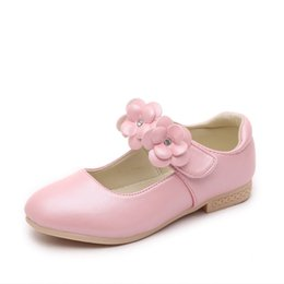 Discount shoe fashion party for kids - Fashion Flower Little Girl Shoes For Party And Wedding For Kids Dress Shoes Princess Dance School Leather Shoe Pink Gold