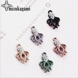 octopus charms 2019 - Alloy Drilled Rubber Color Charms Cartoon Octopus Pendant 10pcs lot For DIY Fashion Drop Earrings Jewelry Making Accesso