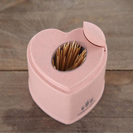toothpick holders dispensers UK - Automatic Toothpick Holder Container Home Decor Heart Shape Toothpick Storage Box Toothpick Dispenser European Style
