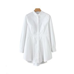 Spandex blouSeS online shopping - Womens Clothing Blouse Women Spandex Chic White Long Blouse Asymmetrical Long Sleeve Stand Collar Pleated Shirt Solid Female Casual Tops