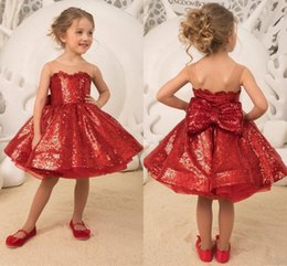 Communion flower online shopping - Sequined Keen Length Flower Girl Dresses Jewel Sheer Neck Ball Gown Girls Pageant Gowns Back Bow Lace Up First Communion Dress Cheap