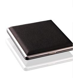 $enCountryForm.capitalKeyWord Australia - Hot Black Pocket Leather Metal Tobacco 20 Cigarette Smoke Holder Storage Case Box Advertising Business Gifts