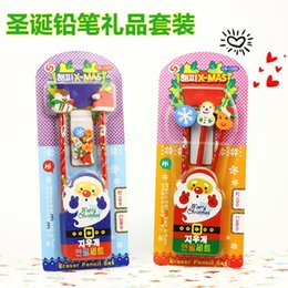 children stationery sets NZ - Christmas Gifts Kindergarten Christmas Gifts Korea Children Creative Stationery Pens Eraser Pencil Set