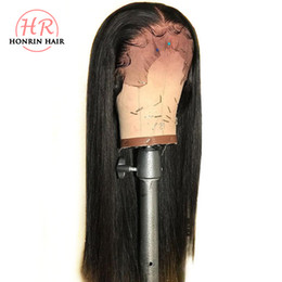 Chinese  Honrin Hair Full Lace Wig Silky Straight Pre Plucked Bleached Knots Brazilian Virgin Human Hair Lace Front Wig 150% Density Glueless manufacturers