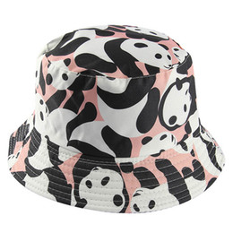 summer panda hat NZ - Japanese cute cartoon panda cat double face wearing basin hat men and women sweet animal fisherman hat