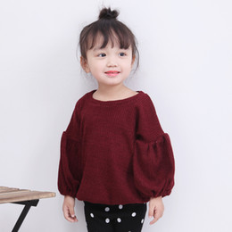 Solid puffed Sleeve t Shirt online shopping - INS Girls Clothes Lantern Sleeves Puff Sleeve Solid Color Long Sleeves T shirt Baby Girls Tops Children Kids Clothing