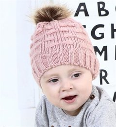 mohair crochet hat NZ - 5 Color Fashion Children Kids Mohair Knitted Beanie With Pompom Baby Girl Boy Winter Outdoor Soft Hats Crochet Warm Beanies T440