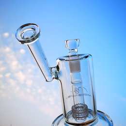 glass water pipe oil drum Australia - Clear Sidecar Mobius Oil Dab Rig Stereo Matrix Perc Glass Bongs With 18mm Female Joint Water Pipe Drum Percolator MB01