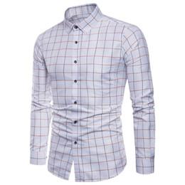Wholesale white oxford shirt slim resale online – Mens Shirt long sleeve shirt Of Mens Long Sleeve Oxford Formal Casual Plaid Slim Fit Dress Shirts Top male shirt chemise homme M XL