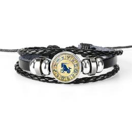 $enCountryForm.capitalKeyWord NZ - New Fashion Women Men Black Leather Rope Bead Cuff Wristband Bracelet Diy 12 Constellations Zodiac Capricorn Time Gem Glass Cabochon Jewelry