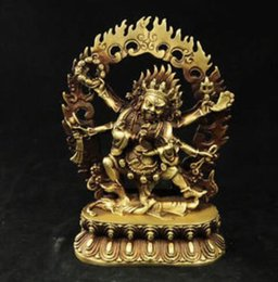 Discount chinese statue gods Chinese Old tibet buddhism brass 6 arms Mahakala Vajra King Kong Exorcism god buddha statue decoration brass factory out
