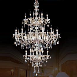 Chandelier Candles Australia - large stair long hotel luxury crystal chandelier 24 lights modern K9 Lobby hotel lustres de cristal candle chandelier fixture