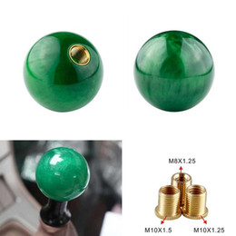 gear types NZ - Pearl Shift Knob Gear Knob Green Ball Type for AT MT Shifter 3 Types Adapters Auto Styling Cool Funny Automobile Acessories Popular Hit Car