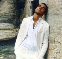 Groom suits for beach weddinG online shopping - Summer Beach Ivory Linen Men Suits For Wedding Suits Groom Wear Custom Bridegroom Slim Fit Casual Tuxedos Best Man Blazer Jacket Pants