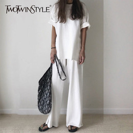 Two Piece Casual Pants Sets Woman Australia - Twotwinstyle Casual T-shirt Trouser Women Two Piece Set Short Sleeve Loose T-shirts High Waist Wide Leg Pants Suits 2018 Summer Y19062201
