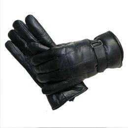 $enCountryForm.capitalKeyWord Australia - Men' Sheepskin Gloves Genuine Leather solid Sheepskin Gloves for male 2018 fashion winter Real Sheep Fur black Mittens
