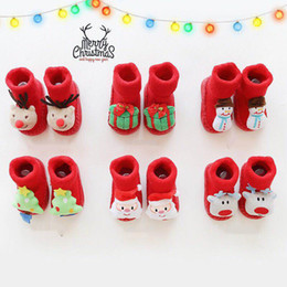 Christmas Gift Shoes Australia - Christmas Cartoon Cotton Baby Socks For Newborn Gift Anti-Slip Warm Socks Slipper Shoes Boots Child Boy Girl Winter Baby Socks