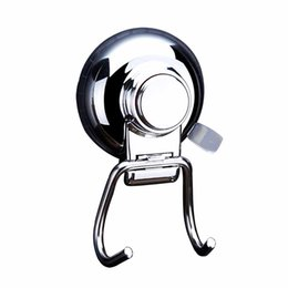 Suction Towel Hook UK - EMVANV Stainless Steel Removable Vacuum Suction Cup Swivel Double Wall Hook Bathroom Kitchen Holder Hanger for Towel Robe
