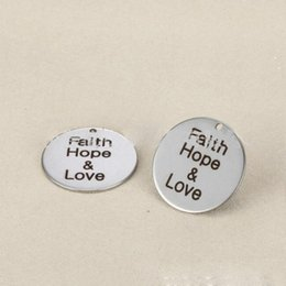 Hope Faith Love Pendant Australia - Fashion Inspirational Accessories Stainless steel Round Pendant Engraved Faith Hope and Love for Jewelry Young Friends