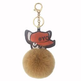 Puppy Pendants Australia - 12CM Cartoon Dog Keychain Wearing A Hat Puppy Fur Ball Key Ring Pendant Women Key Chains For Handbag Car Phone Gifts For Women