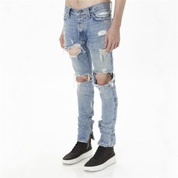Chinese  New mens cotton fashion hip hop justin bieber jeans with holes distressed Ankle zipper denim pants Size 29-36 z93 manufacturers