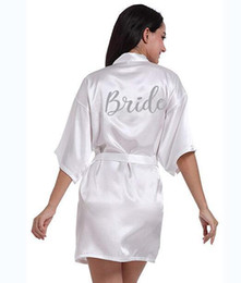 Bride Red Robe NZ - Pdty 01 Silver Writing Bridal Wedding Robes Bride Bridesmaid Maid Of Honor Women Party Robe Custom Name And Date Get Ready Robes