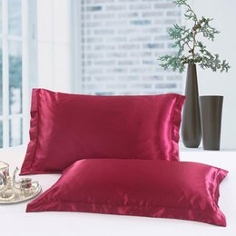 Plain Pink Black Bedding UK - AsyPets 2Pcs Solid Color Simulate Silk Pillow Cover for Bed Pillow Case