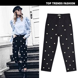 $enCountryForm.capitalKeyWord Australia - Suit-dress High Waist Directly Canister Easy Wide Leg Pants Cowboy Broken Trousers Set Nail Will Pearl Ma'am Eight Part Pants