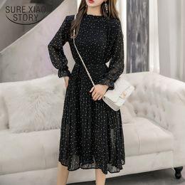 Wholesale dress korean chiffon fashion woman online – Black Vintage ClotheS Spring Lady Long Chiffon Dress New Korean Fashion Women Long Sleeved Polka Dot Pleated Dress Y200101