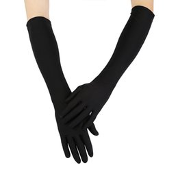 white leather mittens UK - Women Sexy Party Gloves 22'' Long Black White Satin Finger Mittens winter gloves handschoenen rekawiczki guantes tactical gloves