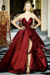 Zuhair Murad Prom Dresses Line Train Australia - Zuhair Murad Dark Red Beaded Prom Dresses V Neck Appliqued A Line Side Split Formal Dress Sweep Train Satin Evening Gowns