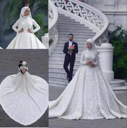 Sexy Unique Red Wedding Dresses Australia - 2019 Custom Made High Neck Long Sleeve Muslim Wedding Dresses Unique Design A-Line Lace Appliques Elegant Bridal Wedding Gowns BC0393