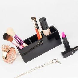 Box Jewelry Storage Organizer Black Australia - 7.Luxury fashion 3 grids black Acrylic storage lipsticks holder Make-up brush Storage Case Jewelry Organizer Counter gift for vip With box