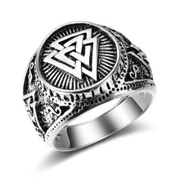 male finger rings Australia - Nordic Drama Viking Male Finger Rings Jewelry Odin Silver Vintage Men's Signet Rings Anel Anillos Anelli