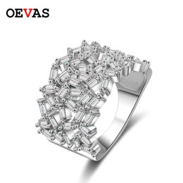 Hollow Fingers Australia - Luxurious AAA CZ Crystal Hollow Finger rings for women Cute girls Party jewelry Top quality Silver color Wedding Engagement ring