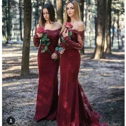 Black lace sheath online shopping - Maroon Off Shoulder Mermaid Bridesmaid Dresses Cheap Lace Appliqued Long Sleeve Sheath Prom Evening Party Gown Wedding Guest Dresses