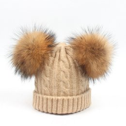 Winter Baby Wool Beanie Boys Girls Kids Knitting Hats Children Warm Caps  Real Raccoon Fur Ball Pompom Knit Beanies Hat 8 Colors 4a98d3674ce1