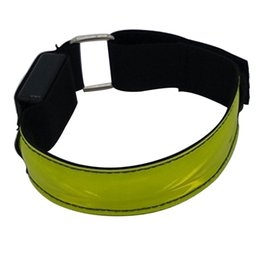 pink reflective belts Australia - 4Pcs Glow Ankle Outdoor Safty Belt High Visibility Reflective Strips LED Armband Adjustable Bracelet Night Running Cycling