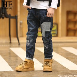 $enCountryForm.capitalKeyWord Australia - He Hello Enjoy Pants Trousers Children Kids Spring Autumn 2018 Teenage Boys Jeans Denim Patchwork Skinny 12 Year J190522