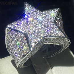 Big men gold ring online shopping - Vecalon Big Star Male Hiphop ring White Gold Filled A Cz Party Anniversary band rings For men Rock Finger Jewelry