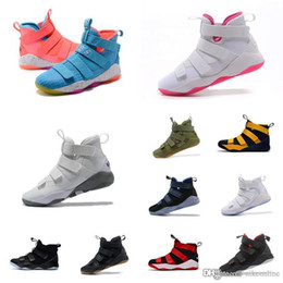 1ae15c6805d0 Cheap Mens Lebron soldier 11 XI basketball shoes Black Blue Pink White Grey  Olive Green air flights sneakers boots tennis for sale