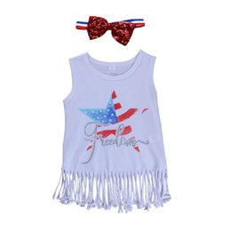 Kids sleeveless white t shirts online shopping - Girl Tassel T Shirt Tops Kids Printing Stars Sleeveless Vest Tops American Flag Independence National Day USA th July Letter Round Neck