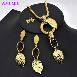 $enCountryForm.capitalKeyWord Australia - AMUMIU Jewelry Sets Leaves Wedding African Beads Jewelry Set for Women Gold Color Dubai Indian Bridal Set JS072