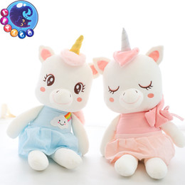 blue pink toys Canada - 25-45cm Unicorn Plush Toy Soft Stuffed Popular Cartoon Unicorn Doll Pink Blue Animal HorseToy High Quality Toys Gifts for Children Girls