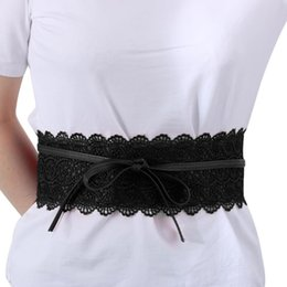 wholesale cinch belts UK - 1PC NEW Women Lady Slim Waist Belt Stretch Buckle Wide Corset Wide Lace Bow Elastic Cinch Waistband Wedding Dress Accessories