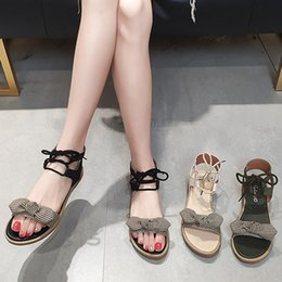 $enCountryForm.capitalKeyWord Australia - Korean version of the 2019 new Summer Bohemian Cross-tied Butterfly-knot Flat Beach Sandals Roman Shoes Sandalias Mujer 2019